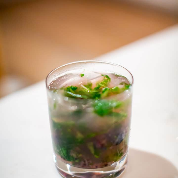 Mint and Lavender Mojito with Blueberries