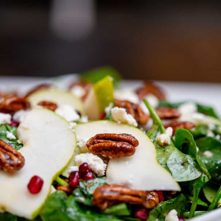 Candied Pecan Pear and Pomegranate Winter Salad