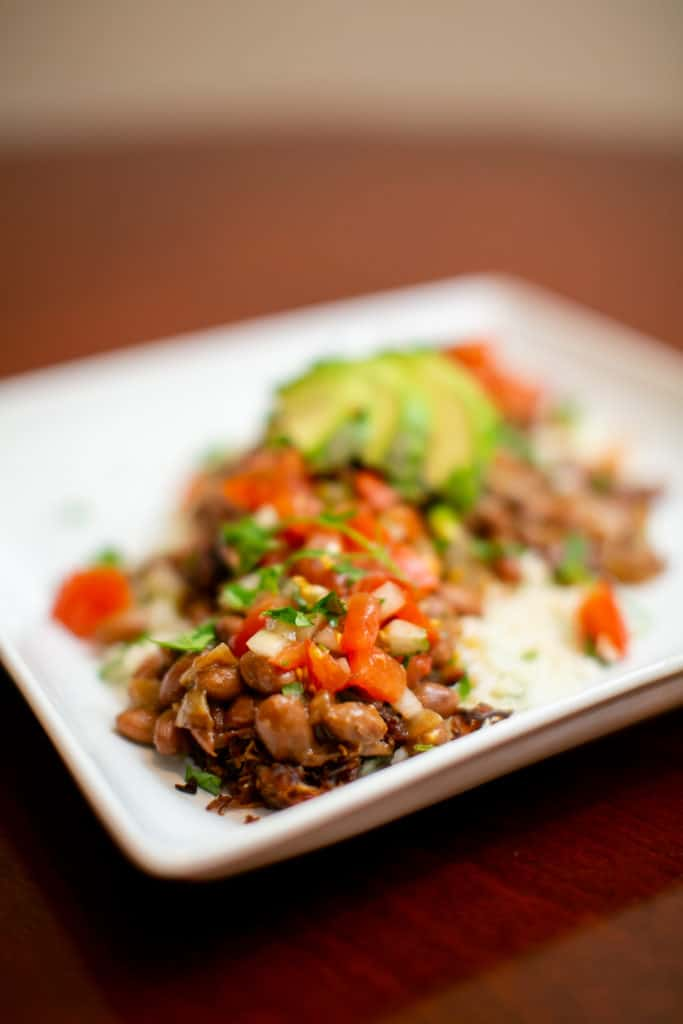 Close photos of pinto beans and chili lime rice