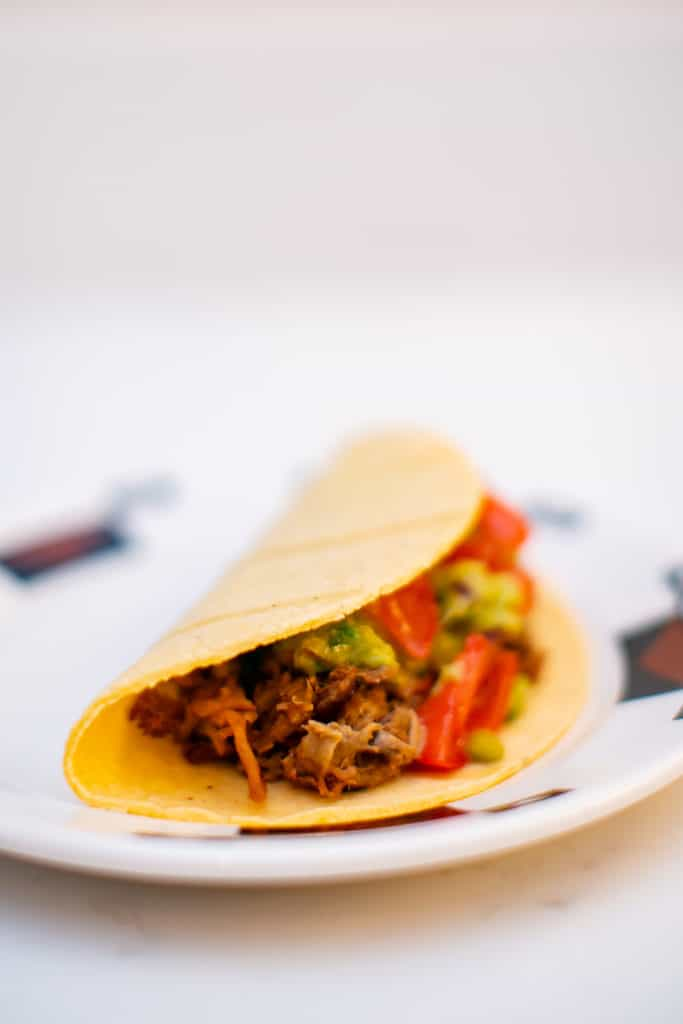 Close photo of pork carnitas enveloped in a taco shell