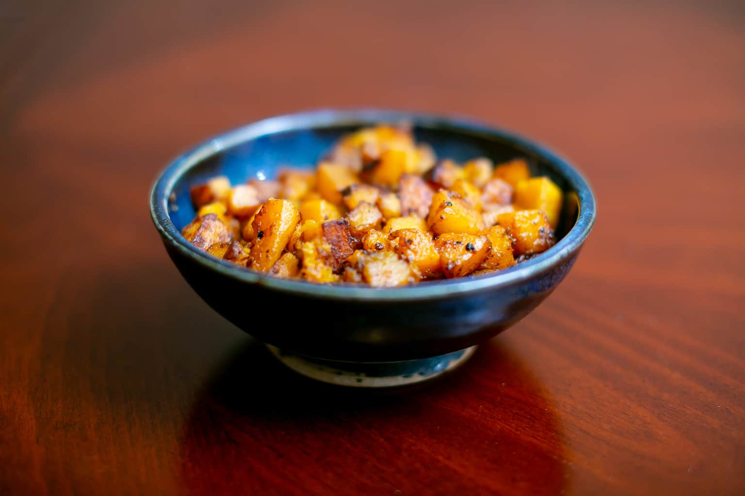 A bowl of roasted butternut squash