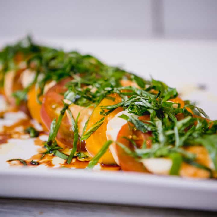 Close up view caprese salad