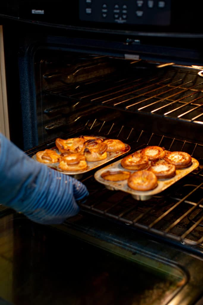 Freshly baked Yorkshire popovers removed from the oven