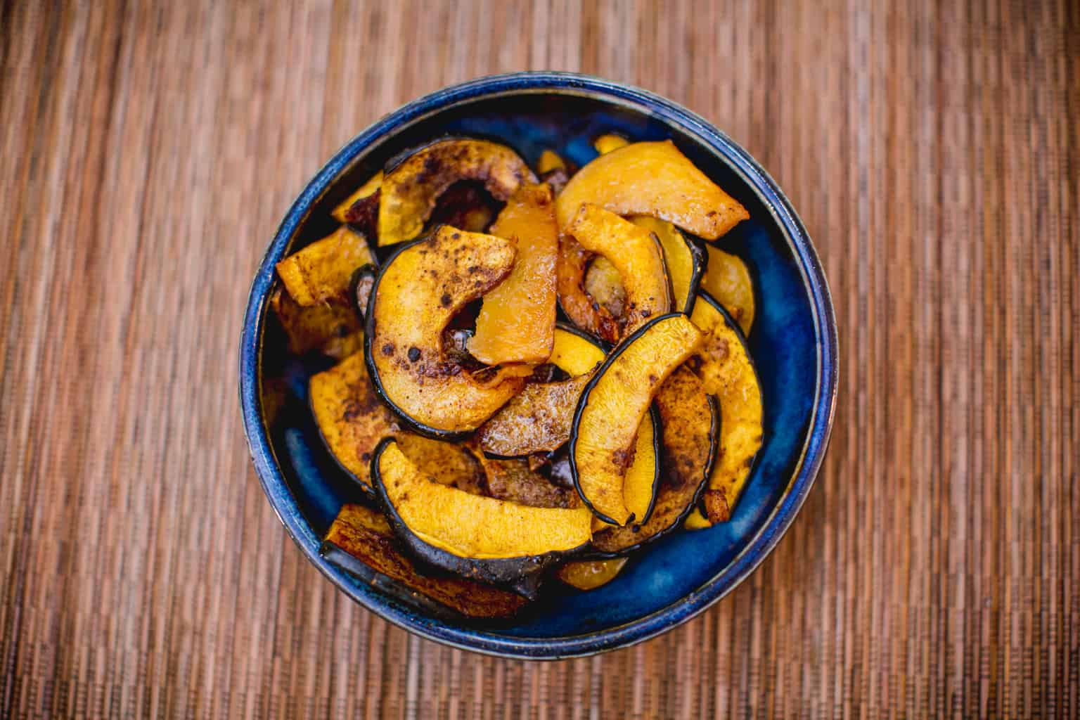 A bowl of spice acorn squash