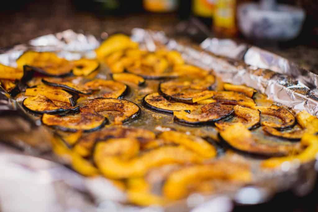 Baked cinnamon spice acorn squash fresh from the oven