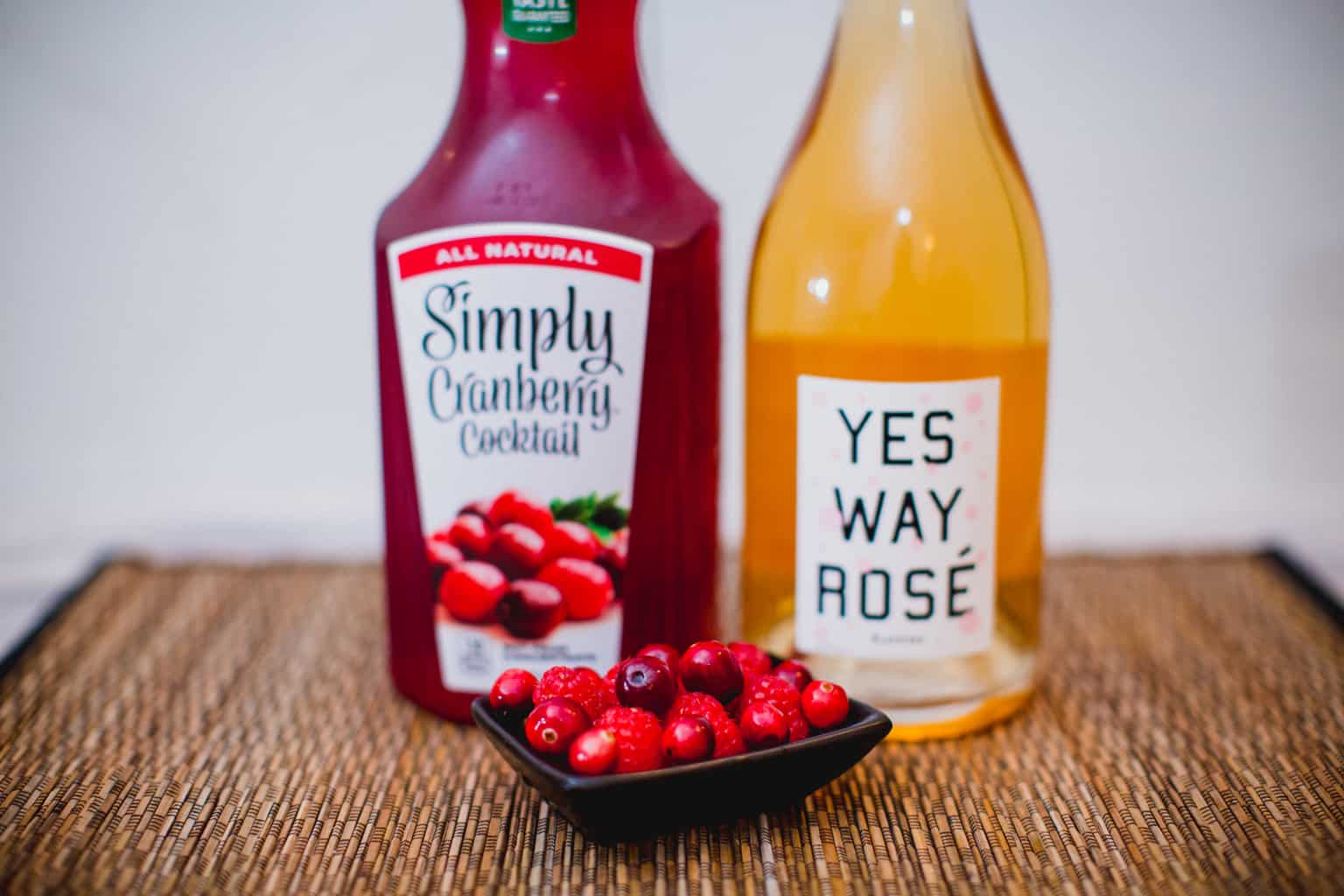 Ingredients for cranberry champagne cocktail