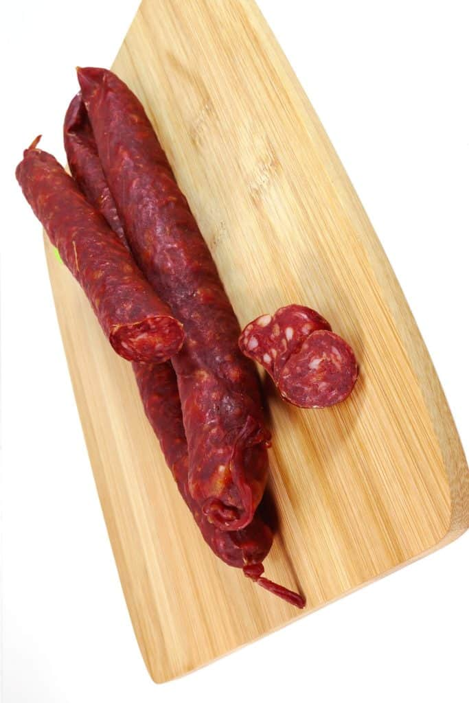 Chorizo on a wooden board