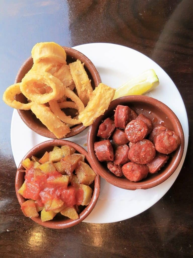 Chorizo are among other small bites of food that are offered in tapas restaurants