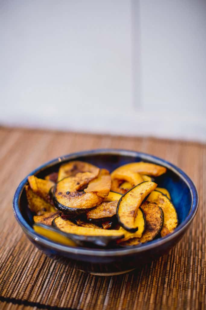 Roasted spiced acorn squash in a bowl