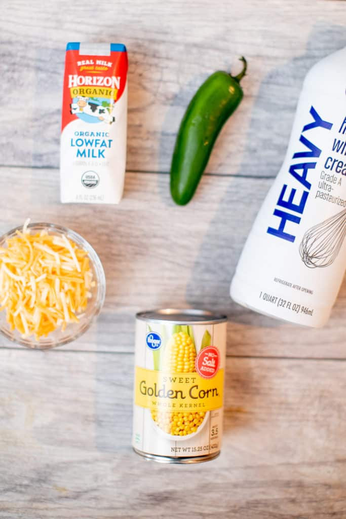 Ingredients needed for homemade creamed corn recipe