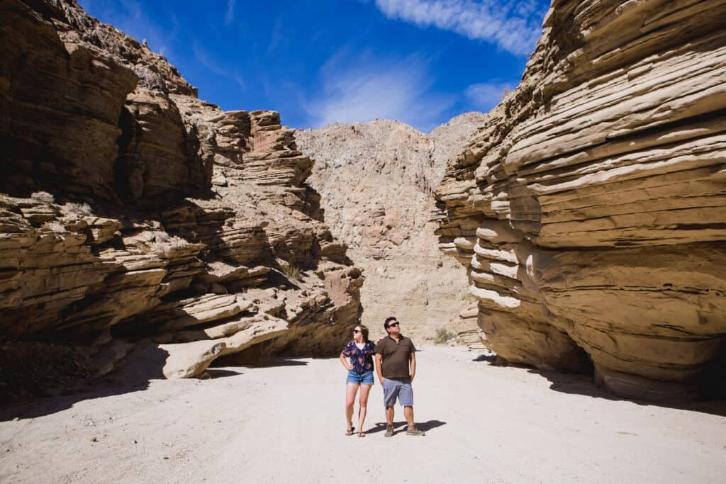 Couple in the canyons in Borrego Springs