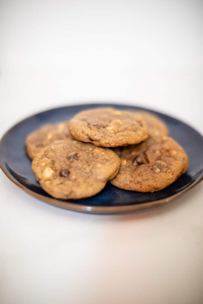 Prepared peanut butter chip cookie recipe on a plate