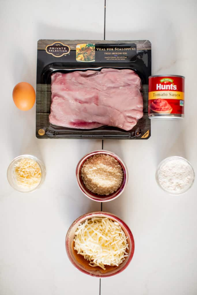 Ingredients for recipe for veal parmesan with spaghetti