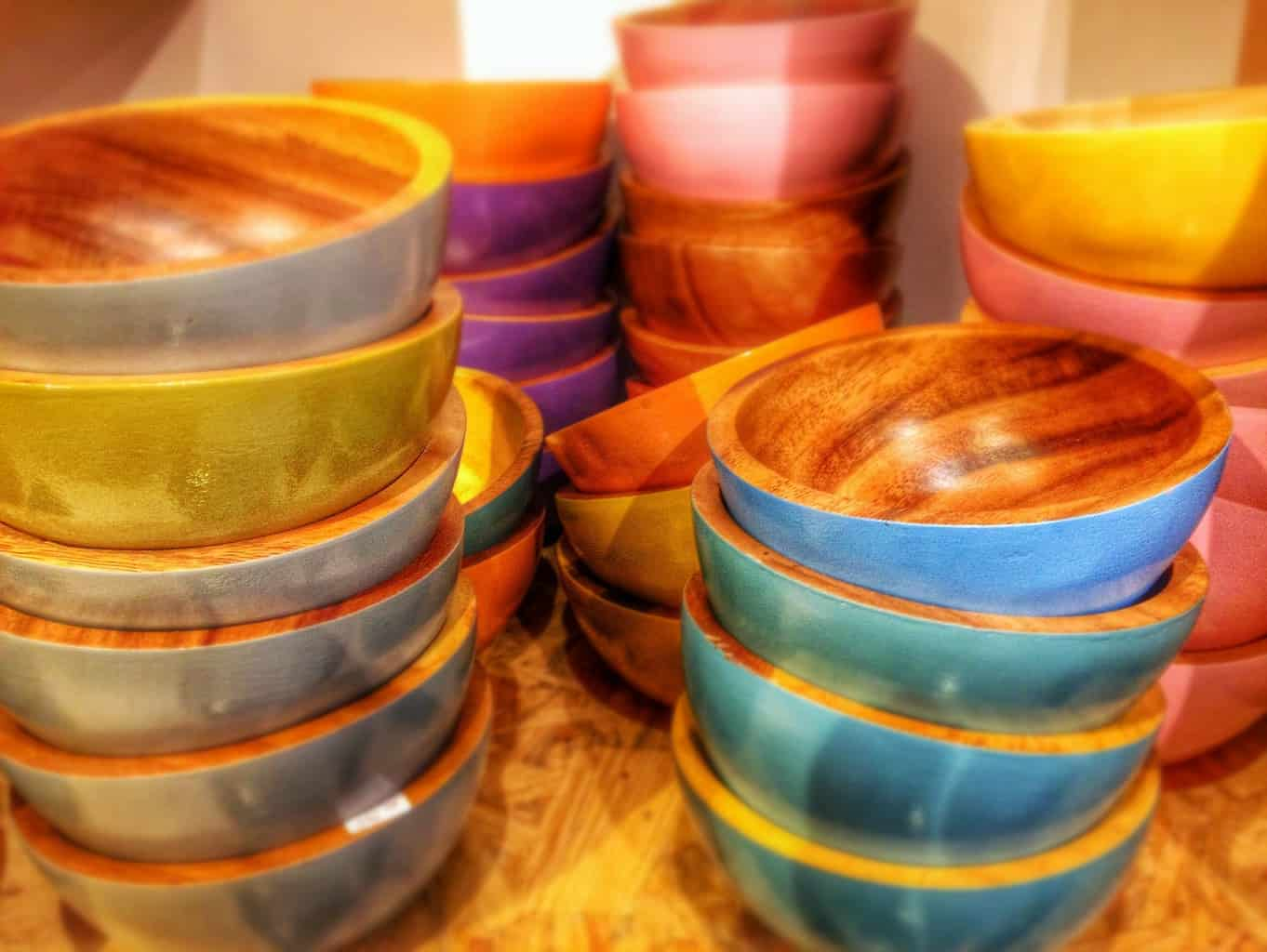 Clean wooden salad bowls stacked on top of each other