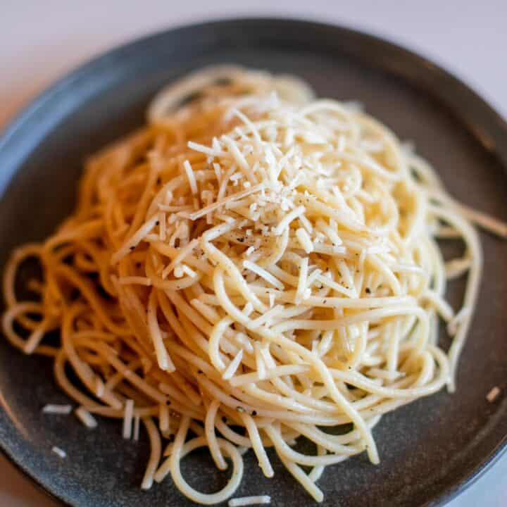 Prepared Parmesan buttered noodles recipe on a plate