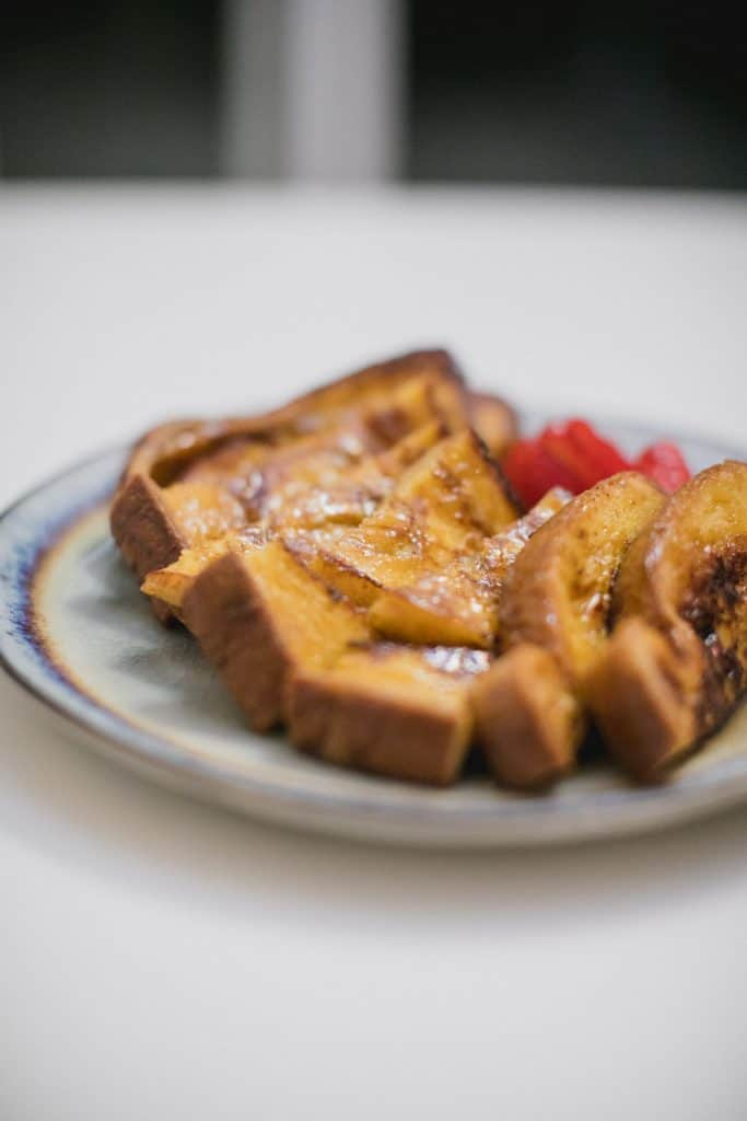 Plate of eggnog french toast recipe