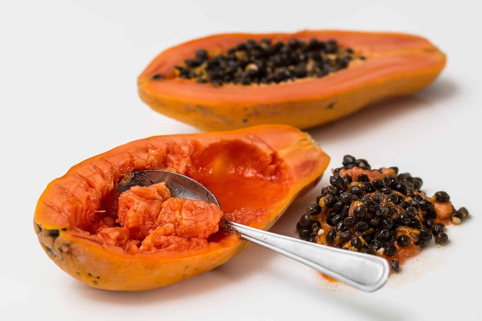 Opened ripe papaya with the seeds out