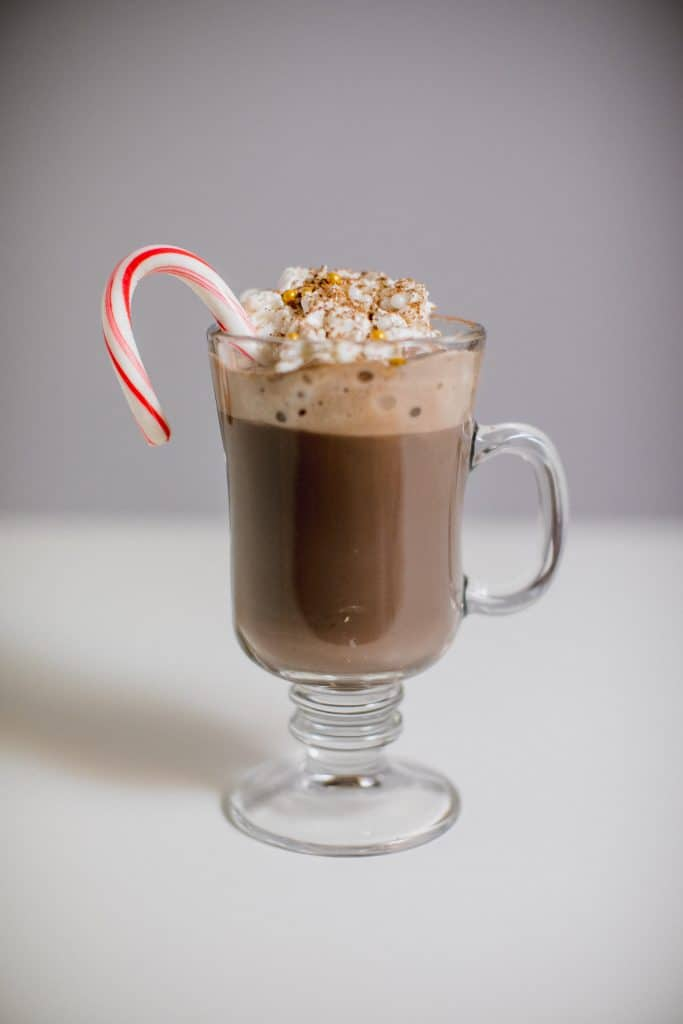 Glass of peppermint hot chocolate recipe