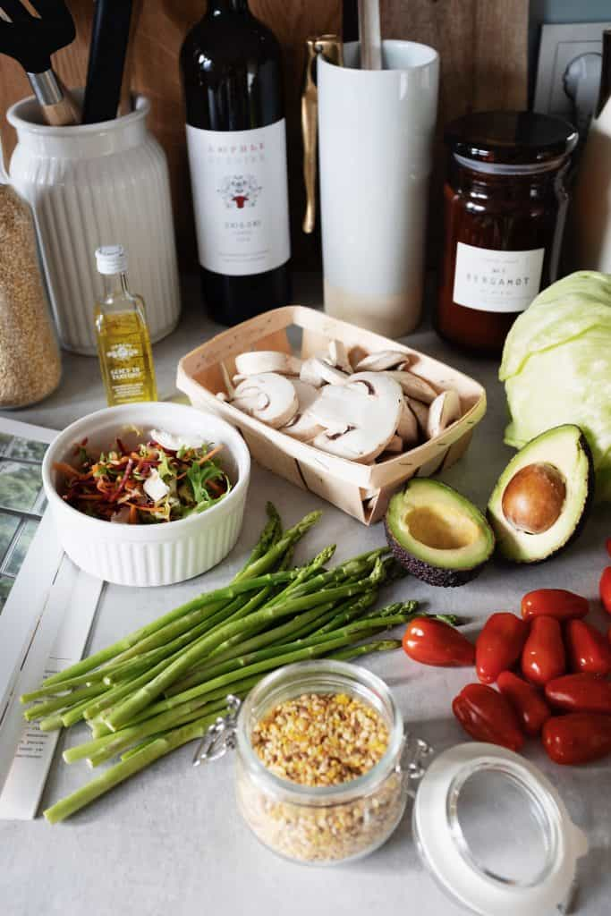 Spices and salad with vinegar