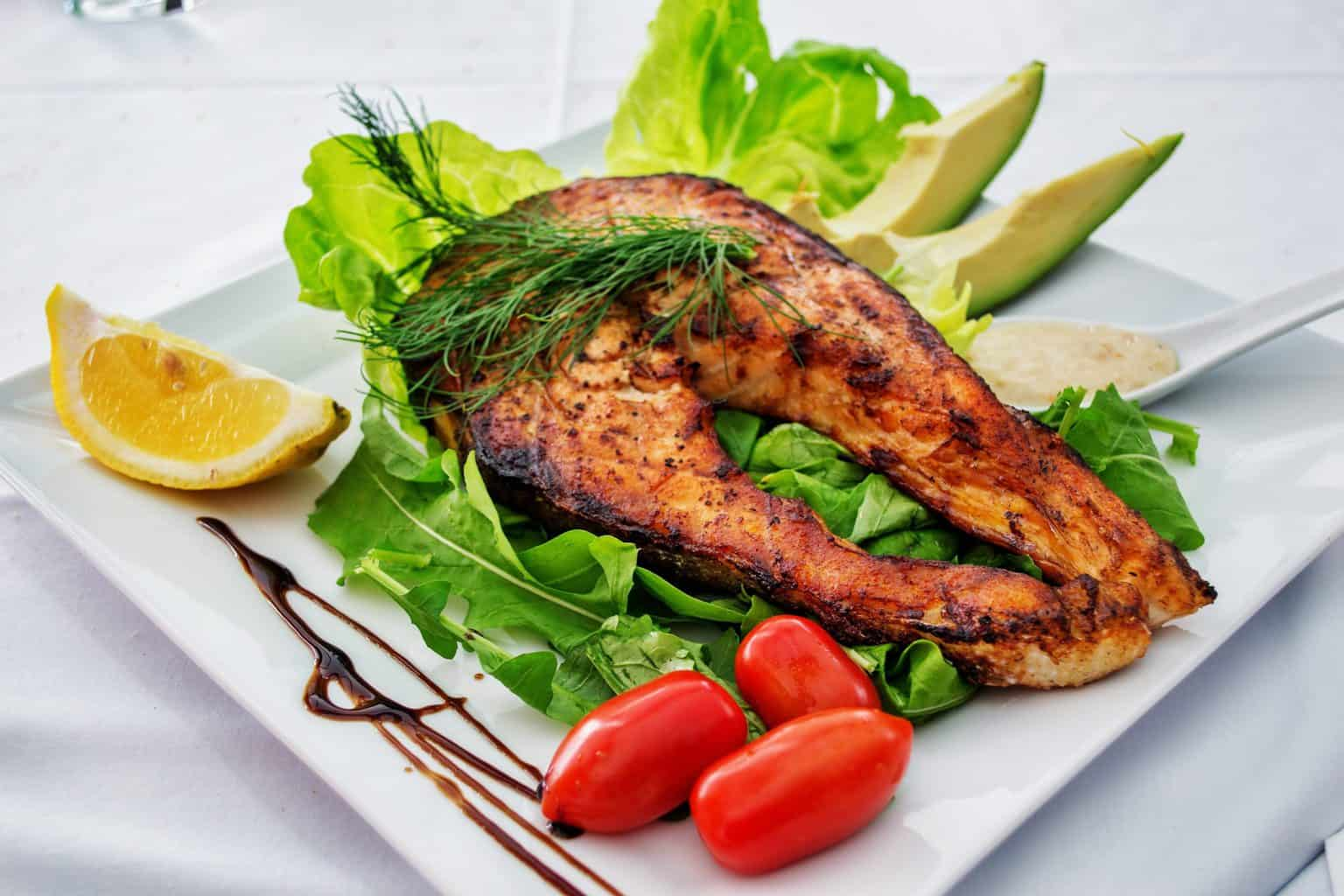 fish plate with vegetables