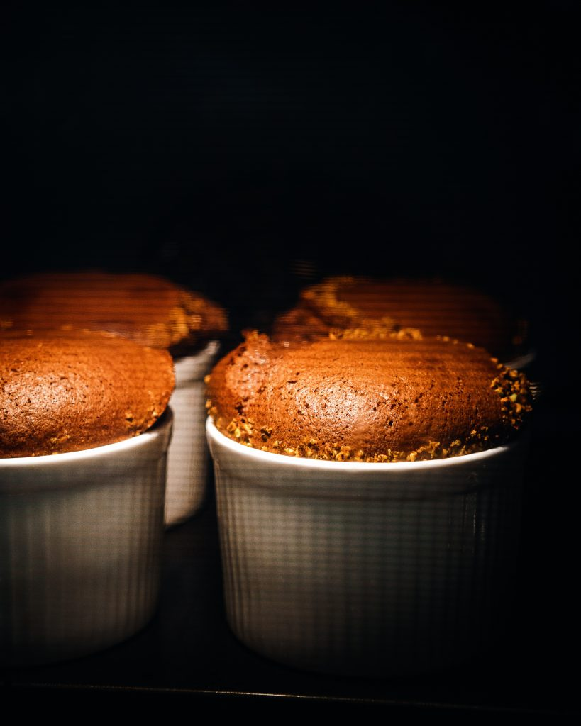 Chocolate soufflé in the oven