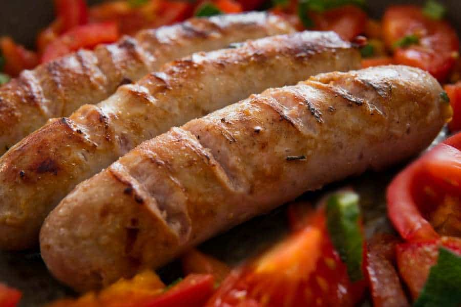 Cooked German sausages